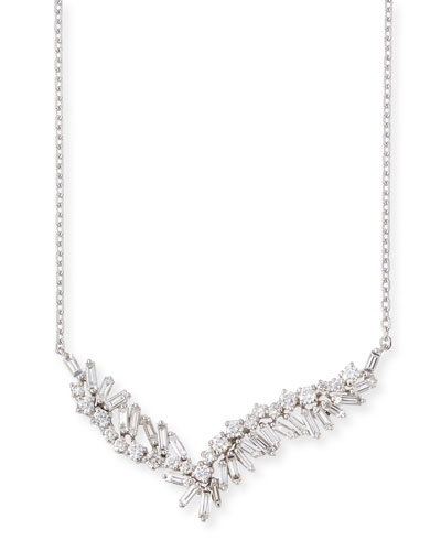 Baguette & Round Diamond Pendant Necklace in 18K White Gold
