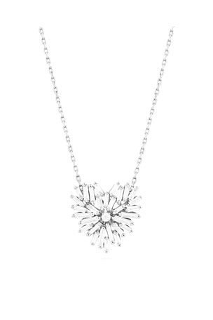 Suzanne Kalan Mini Baguette Diamond Heart Necklace in 18K White Gold
