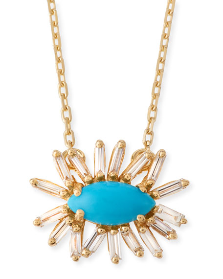 Marquis Turquoise & Diamond Baguette Necklace