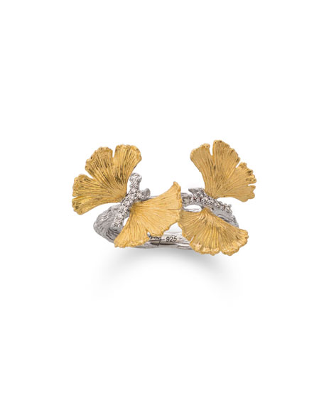 Double Butterfly Ginkgo 18K & Sterling Silver Ring with Diamonds