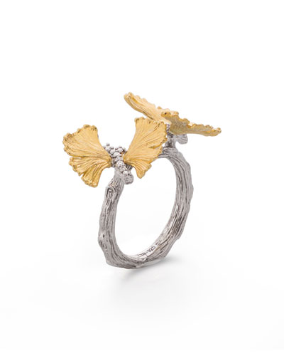 Double Butterfly Gingko 18K & Sterling Silver Ring with Diamonds