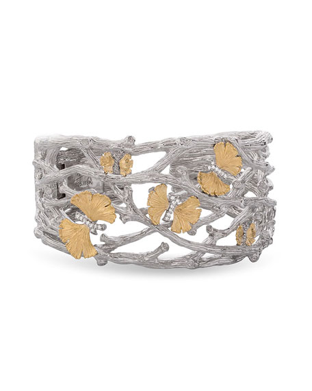 Butterfly Gingko 18K & Sterling Silver Cuff with Diamonds