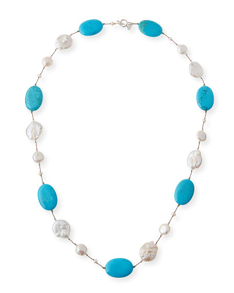 Margo Morrison Turquoise & Baroque Pearl Necklace