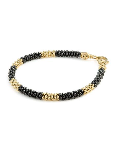 Black Caviar & 18K Gold Rope Bracelet