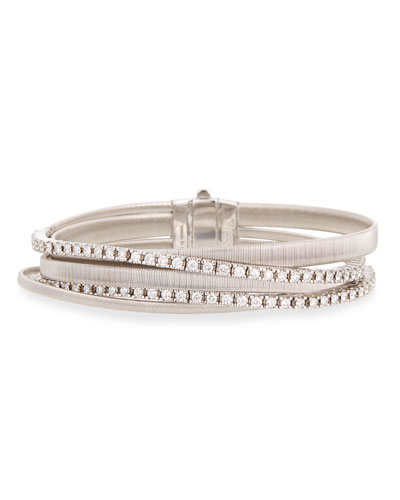 Masai 18k White Gold Five-Strand Diamond Crossover Bracelet