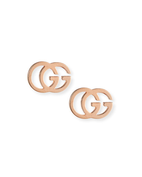 Gucci 18K Pink Gold Running G Stud Earrings ZphttO