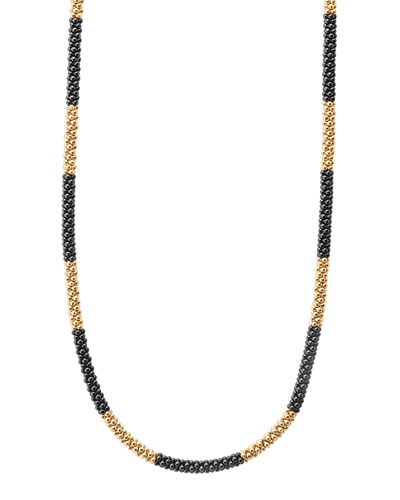 18K Gold & Black Caviar Necklace  16L