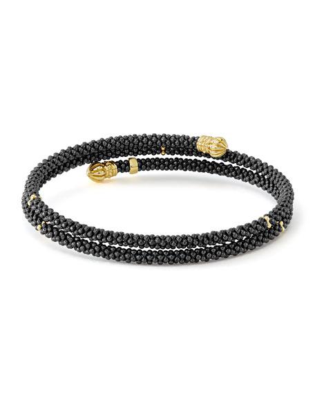 LAGOS 18K Gold & Black Caviar Station Bracelet