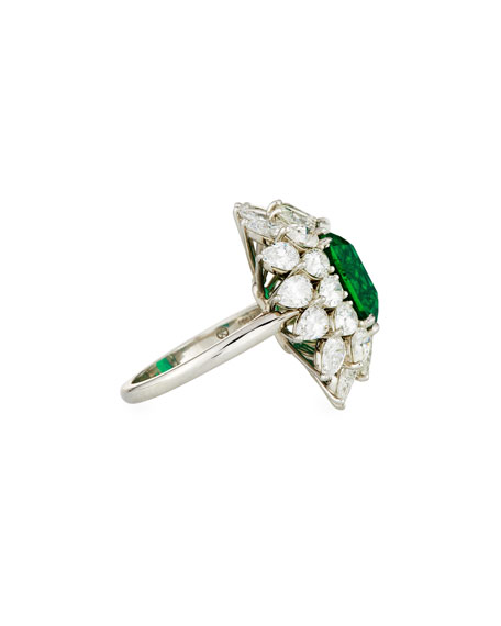 Zambian Emerald & Diamond Ring in Platinum, Size 6