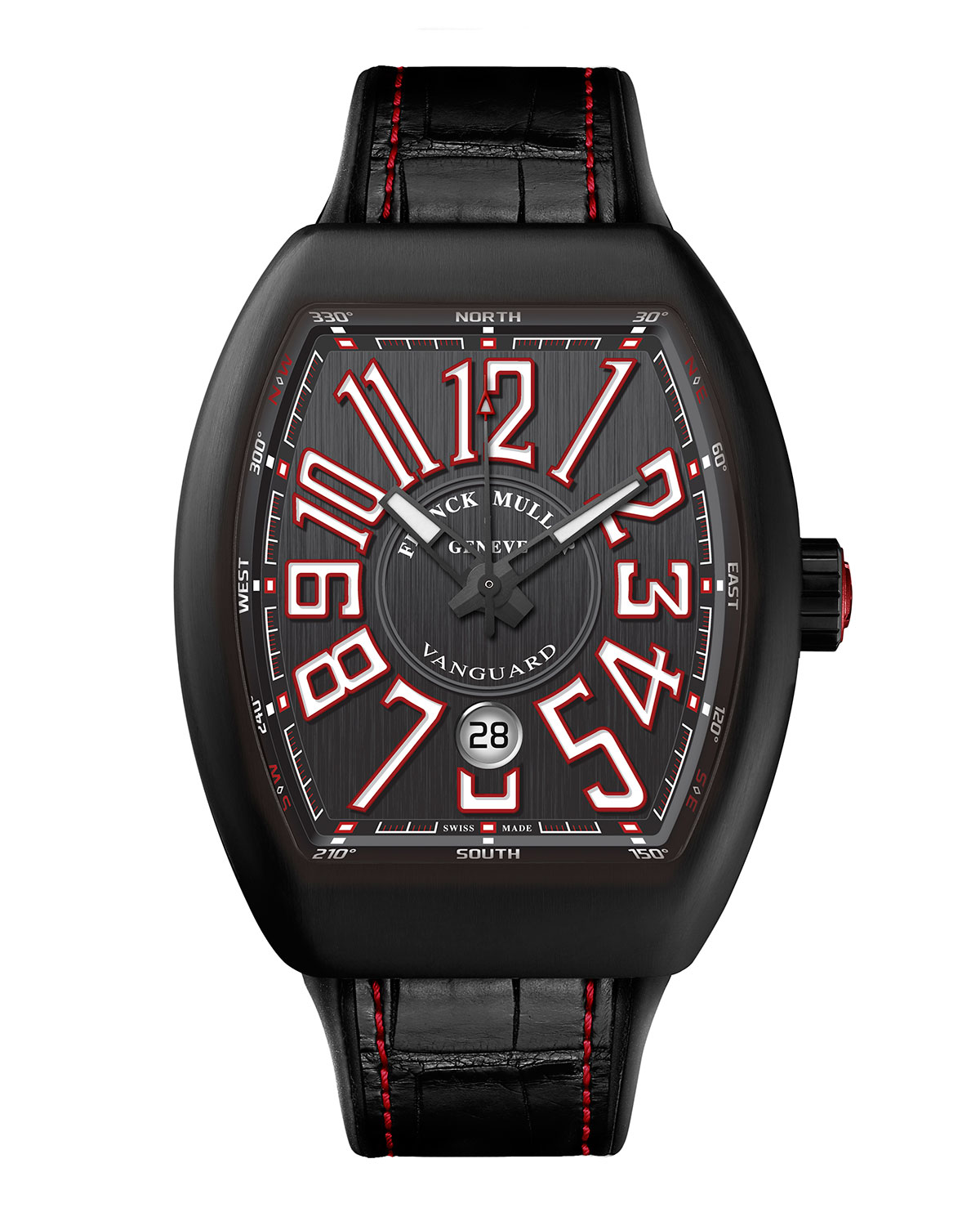 Vanguard Watch With Alligator Strap, Black/Red by Franck Muller