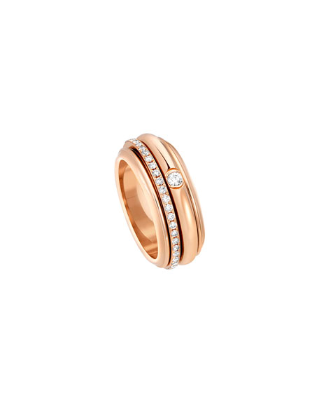 Possession Turning Band Ring with Diamonds in 18K Red Gold, Size 6