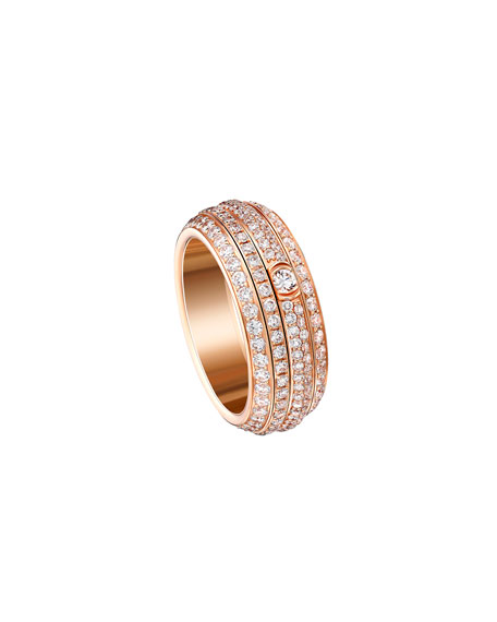 Possession Turning Pave Diamond Band Ring in 18K Red Gold, Size 6