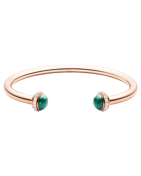 PIAGET Possession Medium Malachite Cabochon Bracelet in 18K Red Gold, Size M
