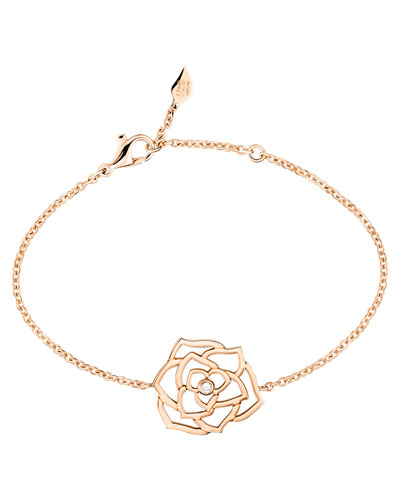 18K Red Gold Rose Bracelet with Diamond