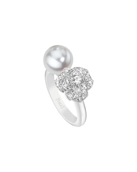 PIAGET Open Pearl & Diamond Rose Ring, Size
