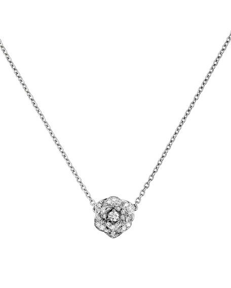 Diamond Rose Pendant Necklace in 18K White Gold