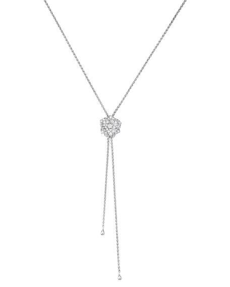 Piaget 18K WHITE GOLD & DIAMOND ROSE LARIAT NECKLACE