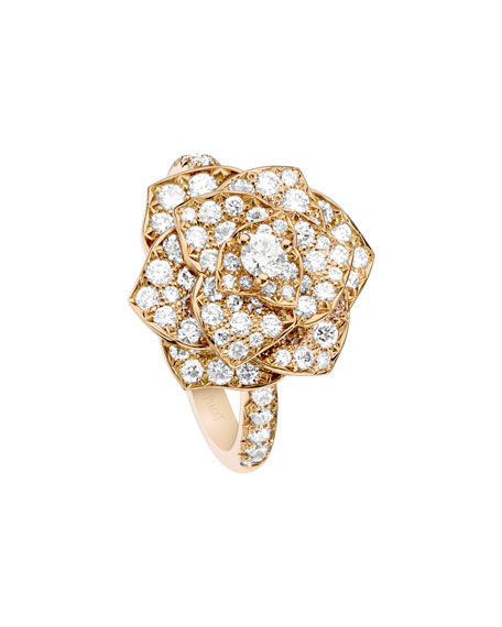 Rose Ring with Pave Diamonds in 18K Red Gold, Size 7