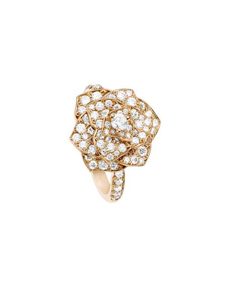 Pavé Diamond Rose Ring in 18K Red Gold, Size 6