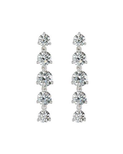 Linear Round Diamond Drop Earrings