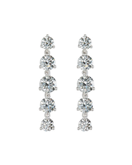 Linear Round Diamond Drop Earrings