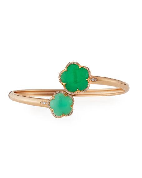 Pasquale Bruni Bon Ton Green Chrysoprase Flower Bracelet with Diamonds in 18K Rose Gold