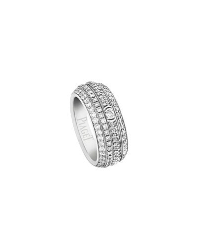 Possession Full Pavé Diamond Band Ring in 18K White Gold, Size 54