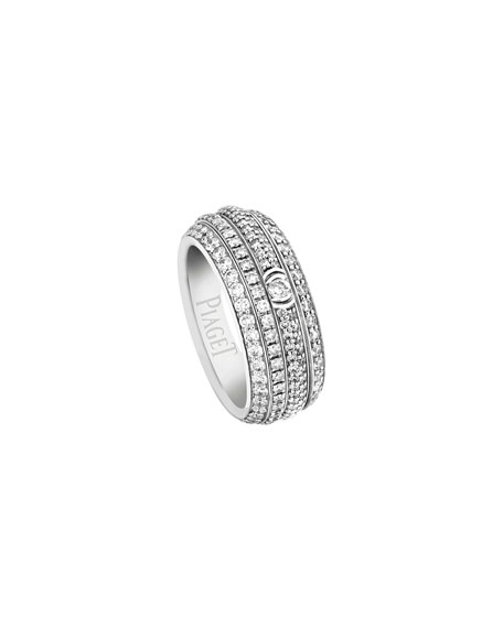 Possession Full Pave Diamond Band Ring in 18K White Gold, Size 54