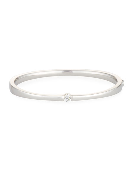 One-Diamond Bangle Bracelet in 18K White Gold