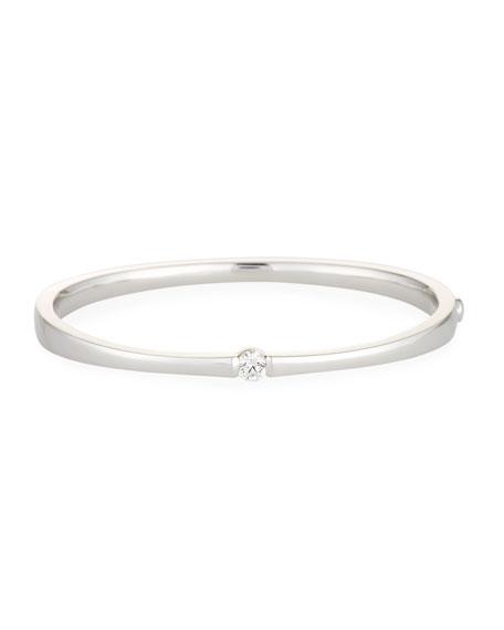 One-Diamond Bangle Bracelet in 18K White Gold