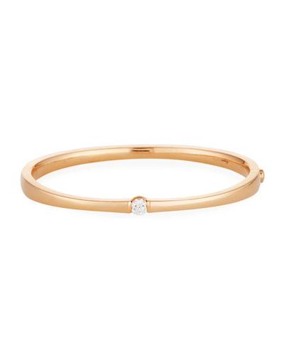 One-Diamond Bangle Bracelet in 18K Yellow Gold
