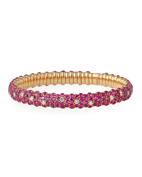 ZYDO Ruby & Diamond Stretch Bracelet in 18K