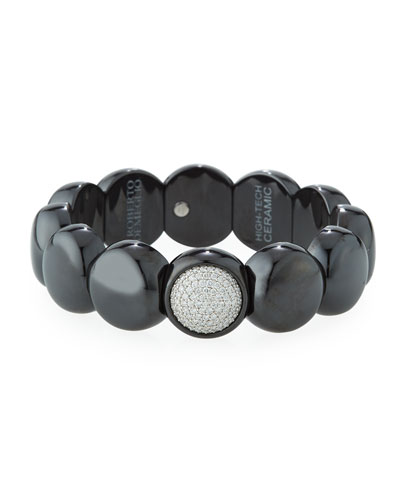 Dama Matte Black Ceramic Beaded Bracelet with White Diamonds