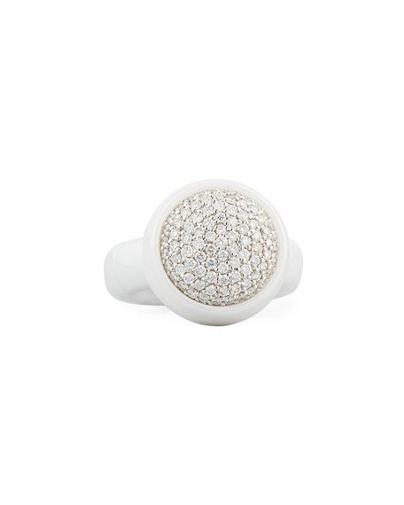 Dama Medium White Ceramic Stretch Ring with Diamonds
