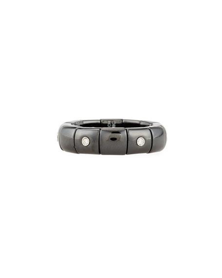 Roberto Demeglio Black Ceramic Band Ring with Diamonds
