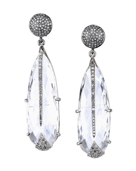 Diamond & White Topaz Teardrop Earrings