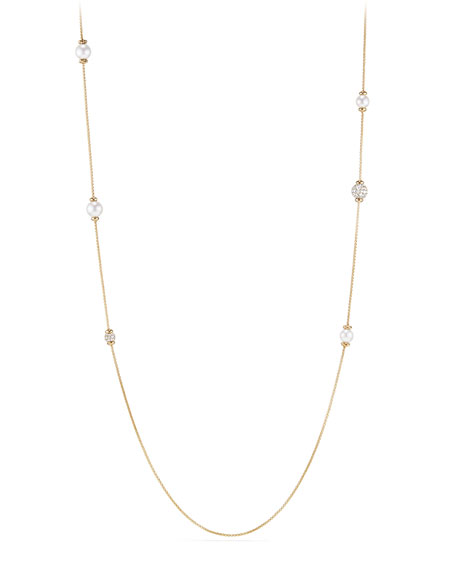 "David Yurman Solari Long Pearl & Diamond Station Necklace, 36"""