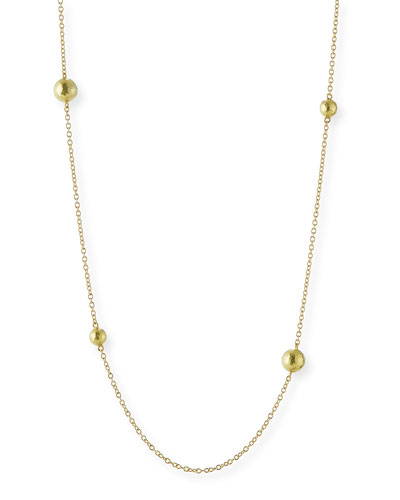 Six-Bead 18K Yellow Gold Chain Necklace, 32
