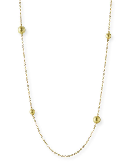Six-Bead 18K Yellow Gold Chain Necklace, 32""