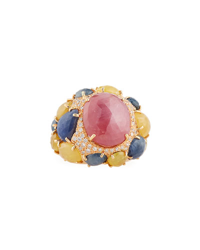 Pink, Blue & Yellow Sapphire Ring with Diamonds in 18K Rose Gold