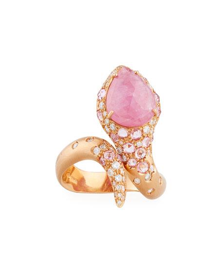 Verdi Pink Sapphire & Diamond Snake Ring in