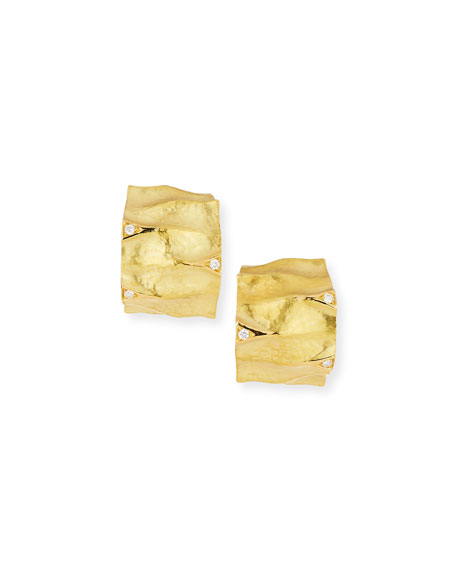 Dune Textured 18K Yellow Gold Huggie Earrings with White Diamonds