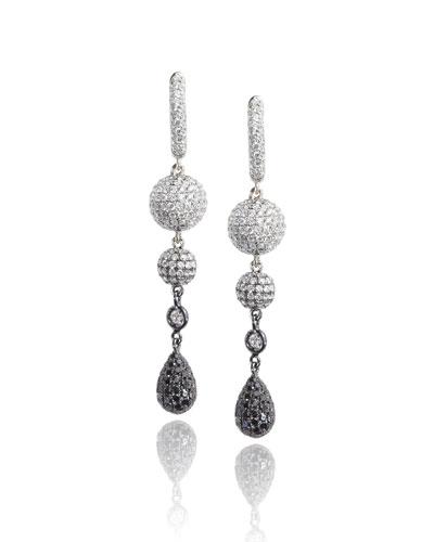 18K White Gold Sphere Drop Earrings with Black & White Diamonds