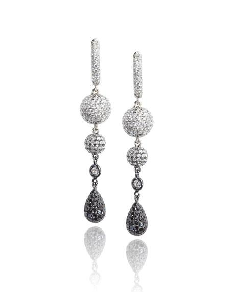 Mariani 18K White Gold Sphere Drop Earrings with Black & White Diamonds