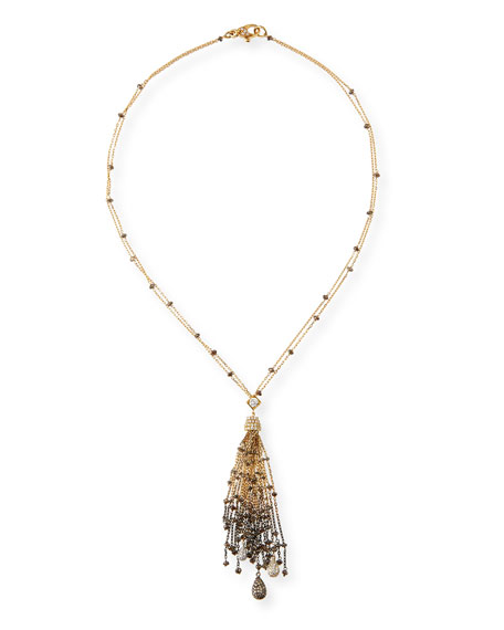 18K Gold Tassel Necklace with Brown & White Diamonds