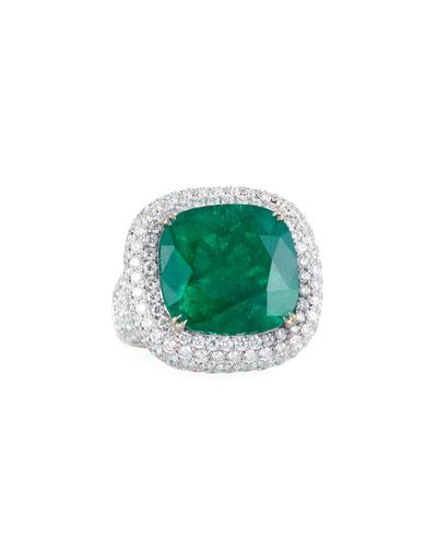 18k White Gold Emerald & Diamond Ring  Size 6.5