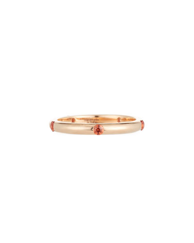 18K Rose Gold Band Ring with Orange Sapphires, Size 7