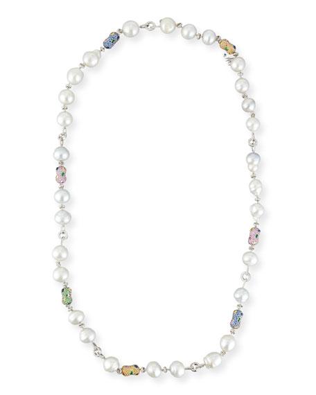 Margot McKinney Jewelry Denim Blue Topaz & South Sea Pearl Station Necklace Zv2zi