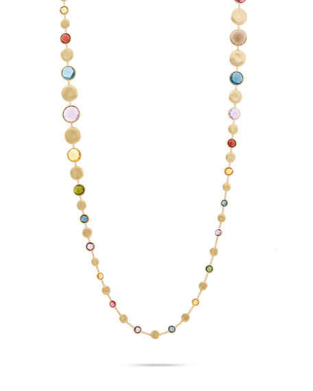"""Marco Bicego Jaipur Graduated Long Necklace with Mixed Elevated Gemstones, 36"""""""