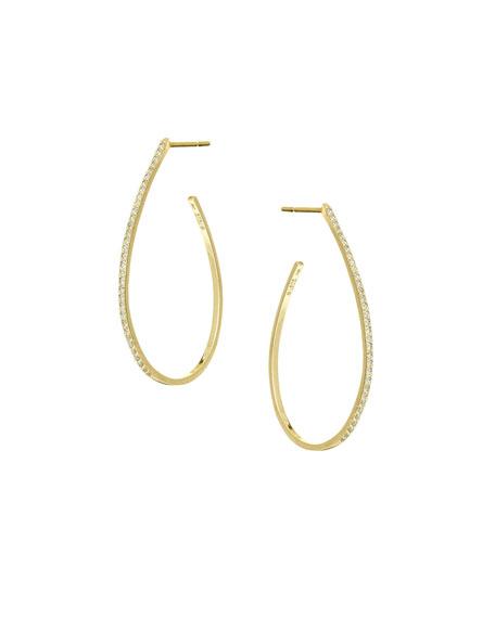 Flawless Small Diamond Teardrop Hoop Earrings in 14K Yellow Gold